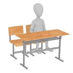 3d render of cartoon character sitting