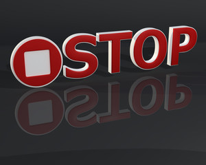 Fototapete - 3D red stop text