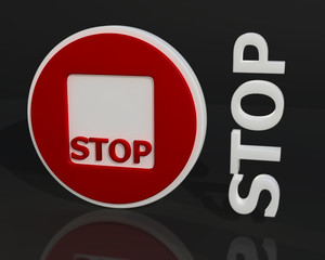 Fototapete - 3D red stop sign
