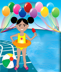 Poster Rainbow Pool Popsicle Girl