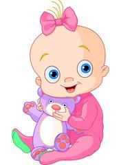 Canvas Prints Fairytale World Cute baby girl with Teddy Bear