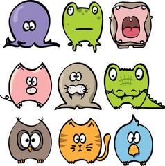 A collection of funny cartoon animals. Vector illustration.