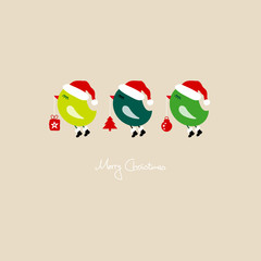 3 Flying Birds Holding Christmas Symbols