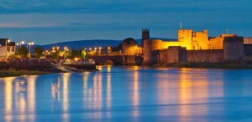 King John castle at dusk in Limerick city, Ireland