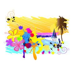 Абстрактный фон, тропики с пальмами, яхтой и цветами