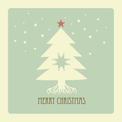 Simple christmas tree  with retro pattern
