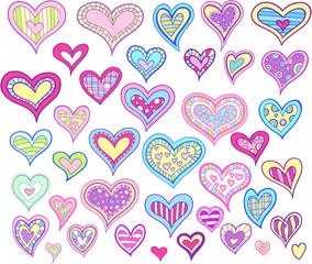 Springtime Valentine Easter Hearts Vector Set