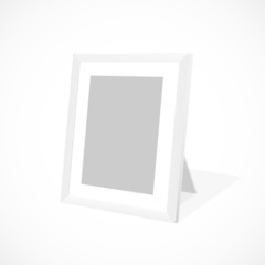 White photo frame. Vector illustration.