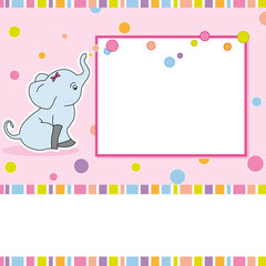 Tarjeta cumpleaños niña. Marco elefante