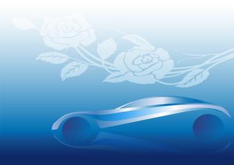 Çiçek motifi ve otomobil