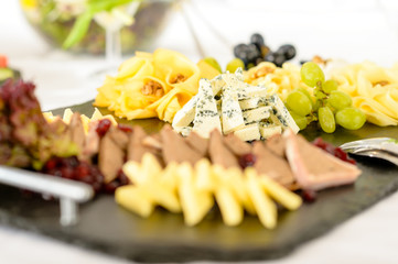 Catering buffet cheese plate with pate