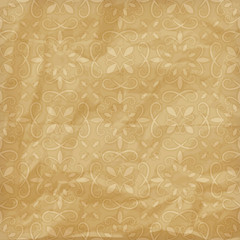 vector seamless  floral pattern on crumpled foil paper texture