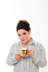 Pretty plus size woman with coffee