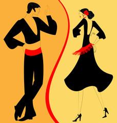 silhouette couple of  flamenco dancer