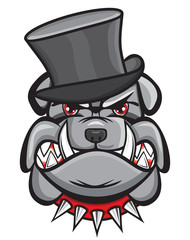 Angry bulldog head with hat