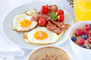 Breakfast setting with fried eggs