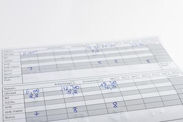 Tagebuch eines Patienten mit Diabetes mellitus