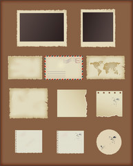 set of old vintage paper. scrapbook elements for design