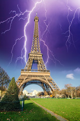 Wall Mural - Storm above Eiffel Tower, view from Champs de Mars