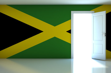 Jamaica flag on empty room