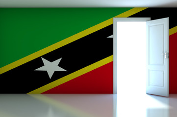 Saint Kitts Nevis flag on empty room