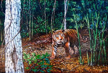 Tiger in the forest of oil painting