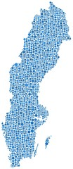 Map of sweden (Europe) in a mosaic of blue circles
