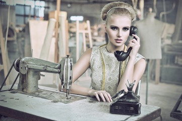 Beauty woman with a phone