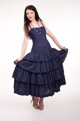Beautiful woman with elegant summer dress.