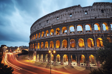 Foto op Canvas Rome Coliseum at night. Rome - Italy