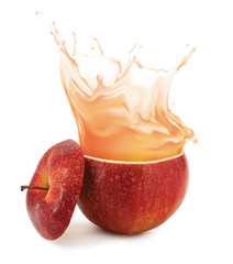Papiers peints Eclaboussures d eau Apple juice splashing isolated on white