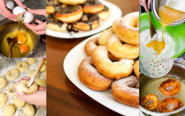 Donuts making collage. Six photos.