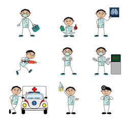 Doctor in various situations