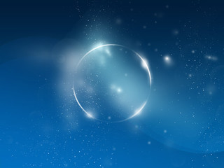 Space circle, blue background