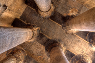 Magnificent columns in Khnum temple, Egypt
