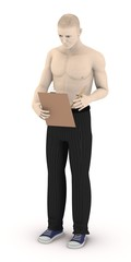 3d render of artificial character with clipboard