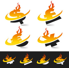 Swoosh Flame Currency Symbols