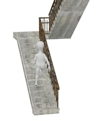 3d render of cartoon character with stairs
