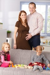 Family at home smiling