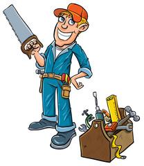 Cartoon handyman with toolbox.