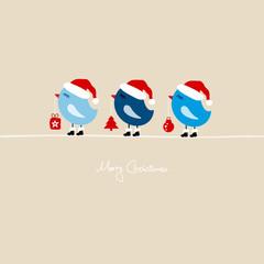 3 Blue Birds Holding Christmas Symbols
