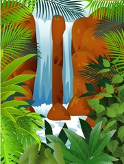 Poster Forest animals Tropical forest with Waterfall