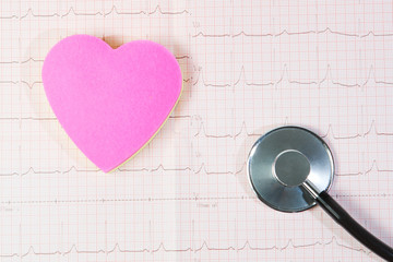 Heart and a stethoscope against a background of cardiogram.