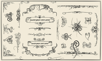 Calligraphy doodle design elements collection