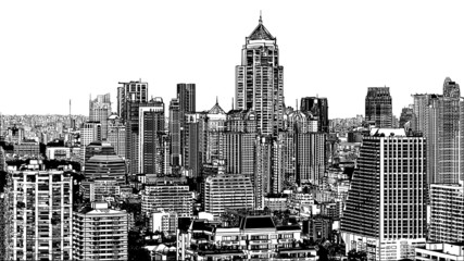 Panoramic view of modern Bangkok near Asok
