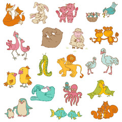 Baby Animals with Moms - for your design and scrapbook - hand dr