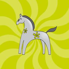 cheval antique gris fleur fond vert