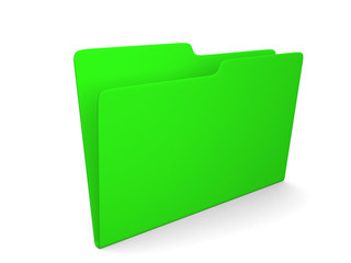 3d illustration of empty green folder
