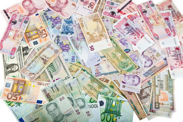 Currencies, worldwide money, banknotes, exchange rate