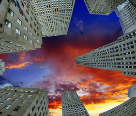 Fototapete - Upward view of Manhattan Office Buildings and Skyscrapers
